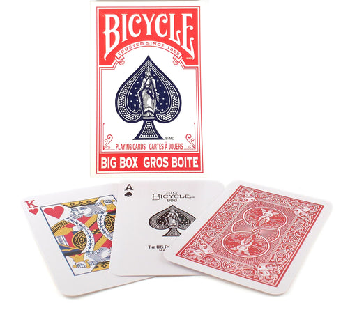 "Bicycle Big Box Red Playing Cards - 4.5"" Wide x 7"" Tall Large Jumbo Card Deck"