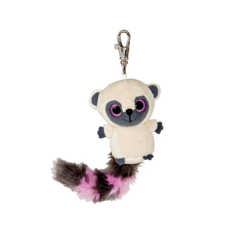 "3"" Yoohoo Bush Baby Raccoon with Pink Clip-On Keyclip Small Soft Plush Keychain"