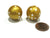 Set of 2 22mm Round Dice, Weighted to Display Number - Gold with White Pips