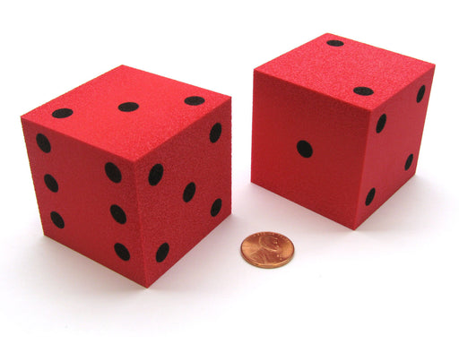 Pack of 2 Jumbo Large 50mm (2 Inches) Foam Dice - Red with Black Pips