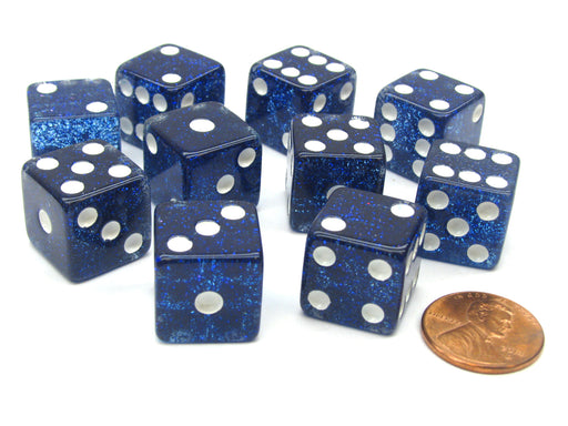 Set of 10 D6 16mm Glitter Dice - Blue with White Pips