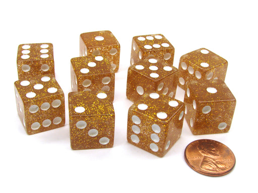 Set of 10 D6 16mm Glitter Dice - Yellow with White Pips