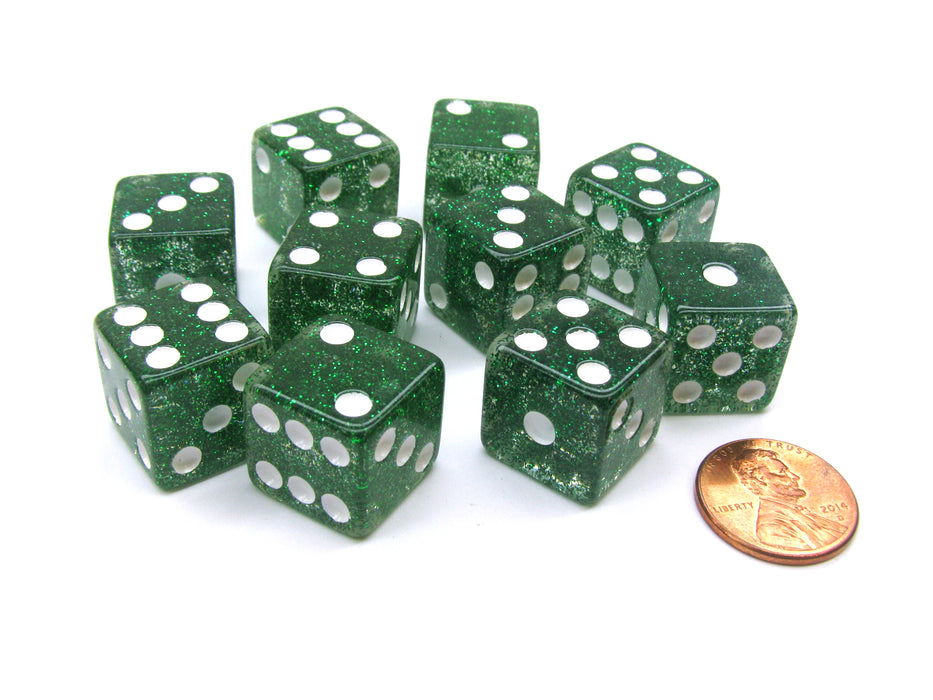 Set of 10 D6 16mm Glitter Dice - Green with White Pips