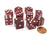 Set of 10 D6 16mm Glitter Dice - Red with White Pips