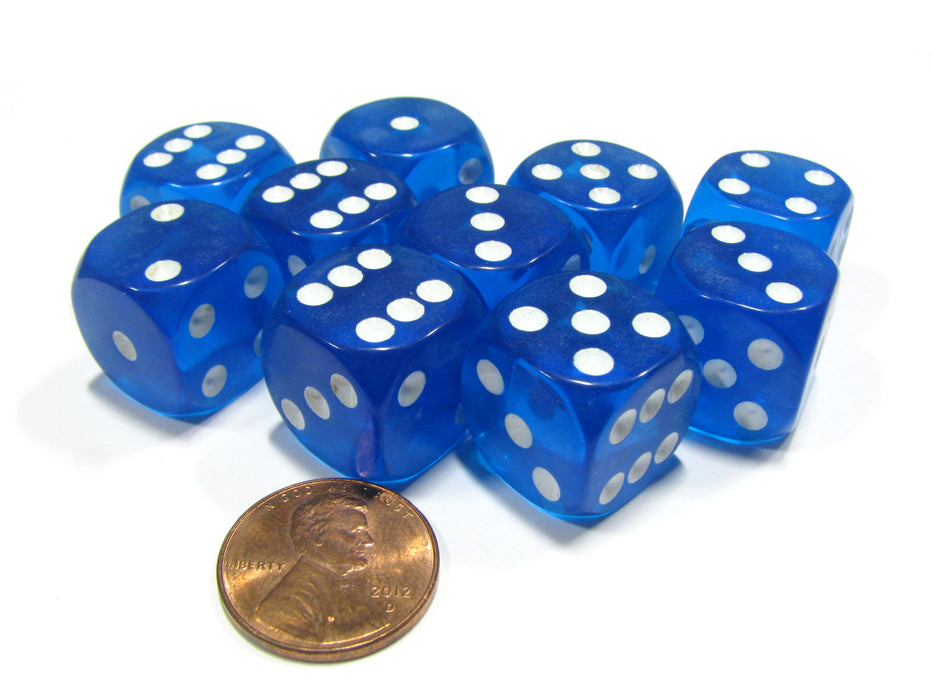Set of 10 D6 16mm Round Corner Transparent Dice - Blue with White Pips