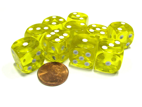 Set of 10 D6 16mm Round Corner Transparent Dice - Yellow with White Pips