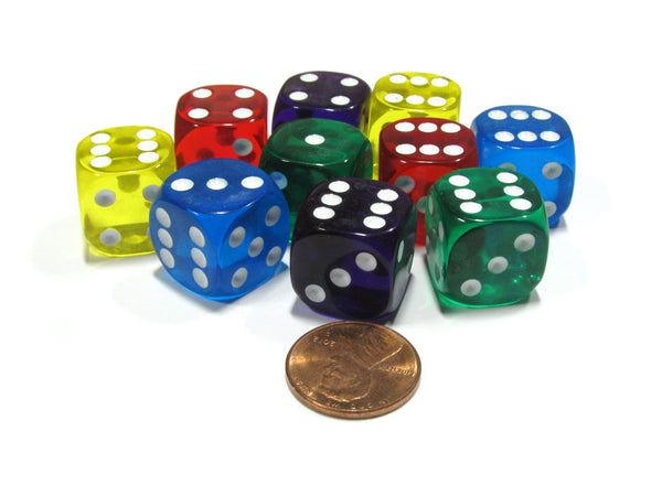 Set of 10 D6 16mm Rounded Transparent Dice - 2 of Blue Green Yellow Purple Red