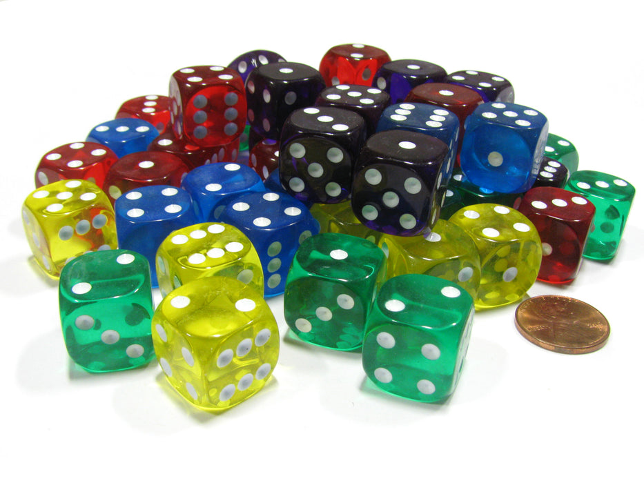 Set of 50 D6 16mm Rounded Transparent Dice- 10 of Blue Green Yellow Purple Red