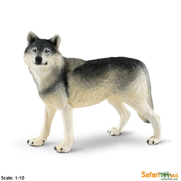 "Educational Animal Replica Painted Plastic Figure  4"" Long 1/10 Scale - Wolf"