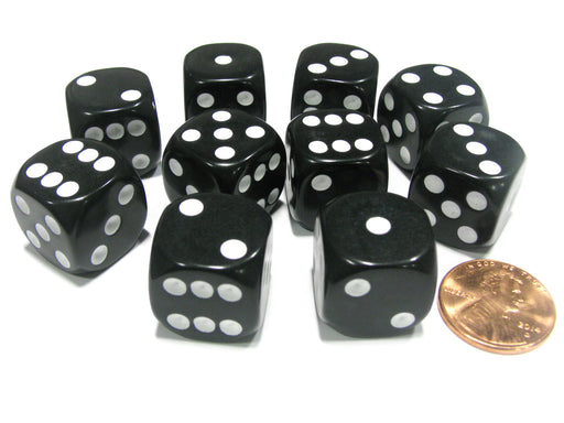 Set of 10 Six Sided Round Corner Opaque 16mm D6 Dice - Black with White Pip