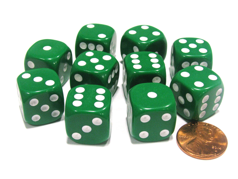 Set of 10 Six Sided Round Corner Opaque 16mm D6 Dice - Green with White Pips