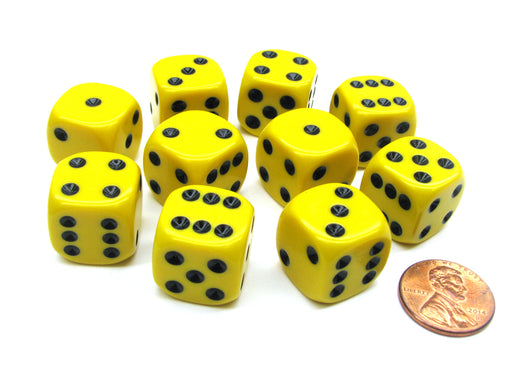Set of 10 D6 16mm Rounded Corner Opaque Dice - Yellow with Black Pips