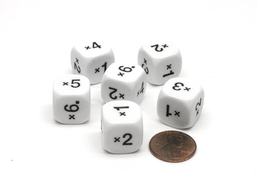 Pack of 6 16mm Numbered Multiplication Dice (x1 to x6) - White with Black