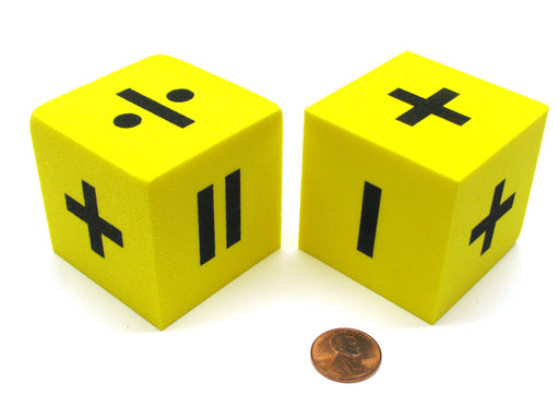 Pack of 2 Yellow 50mm Foam Operator Dice - 1 Each of 2 Function and 6 Function