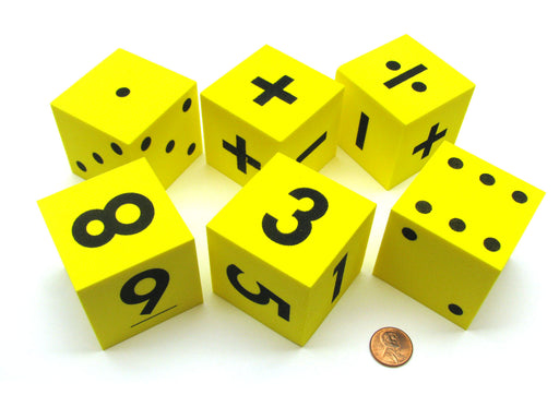Pack of 6 Yellow 50mm Foam Math Dice - Assorted Function, Spotted, and Numbered