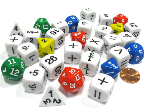 31 Piece Math Classroom Dice Set - Add Subtract Multiply Divide Whole Fractions