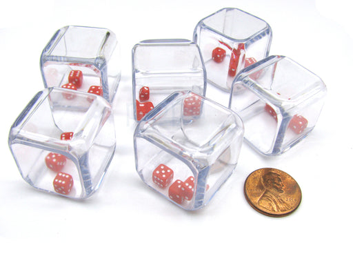 Pack of 6 '3 In a Cube' Dice - Three 5mm Red Tiny Dice Inside 25mm Clear Cube