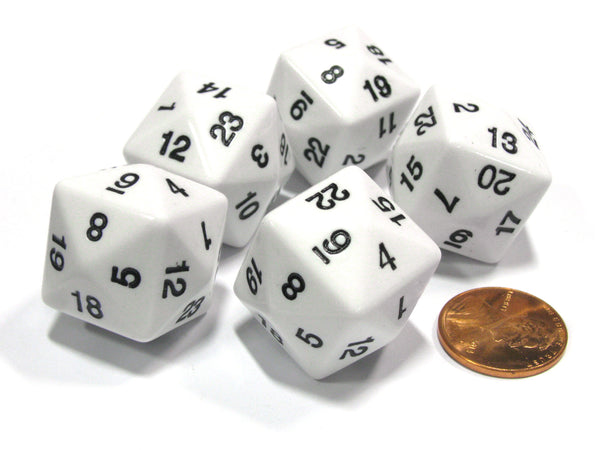 Set of 5 D24 Opaque 24mm 24-Sided Gaming Koplow Dice - White with Black Numbers