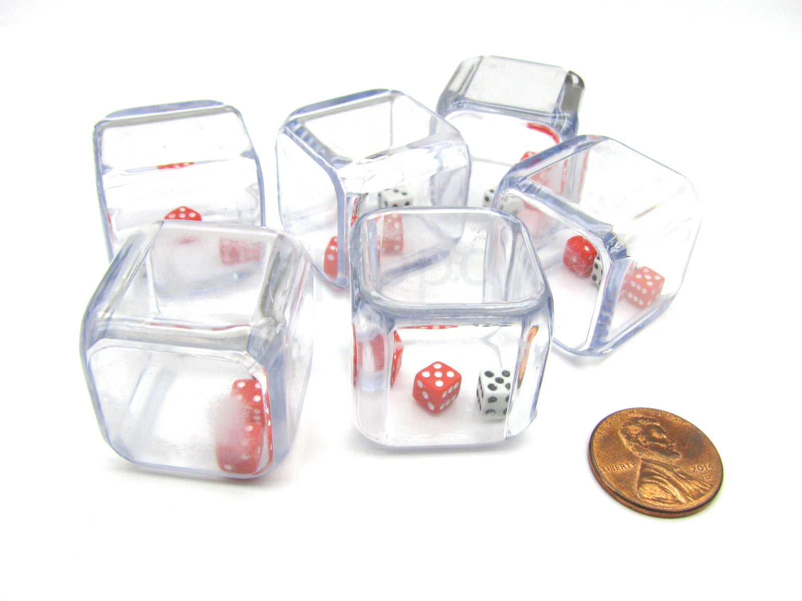 Pack of 6 '3 In a Cube' Dice - 2 x 5mm Red + 1 x 5mm White Dice Inside 25mm Cube