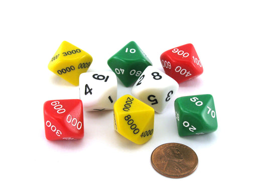 Place Value Dice 2 Sets (8 Pieces): Ones, Tens, Hundreds, and Thousands