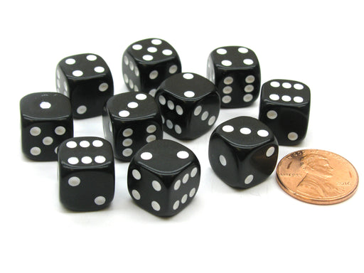 Pack of 10 12mm Round Edge Opaque Small Dice - Black with White Pips