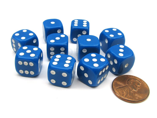 Pack of 10 12mm Round Edge Opaque Small Dice - Blue with White Pips