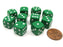 Pack of 10 12mm Round Edge Opaque Small Dice - Green with White Pips