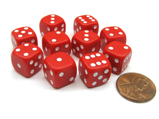 Pack of 10 12mm Round Edge Opaque Small Dice - Red with White Pips