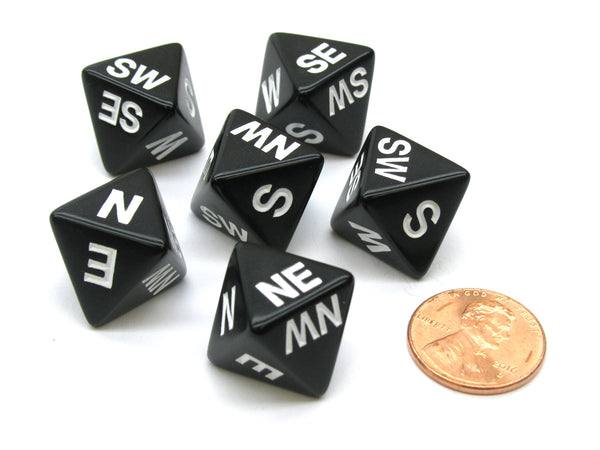 Set of 6 Compass Cardinal Direction 8 Sided Dice - Black with White Letters
