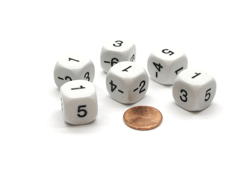 Pack of 6 16mm Round Opaque Negative Even Numbers Dice- White with Black Numbers