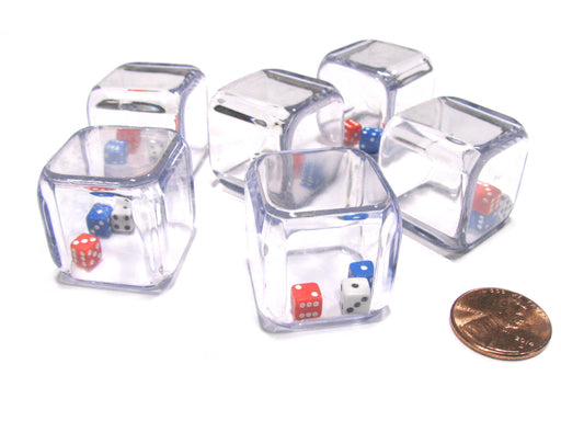 Set of 6 '3 In a Cube' Dice - 5mm Red White and Blue Tiny Dice Inside 25mm Cube