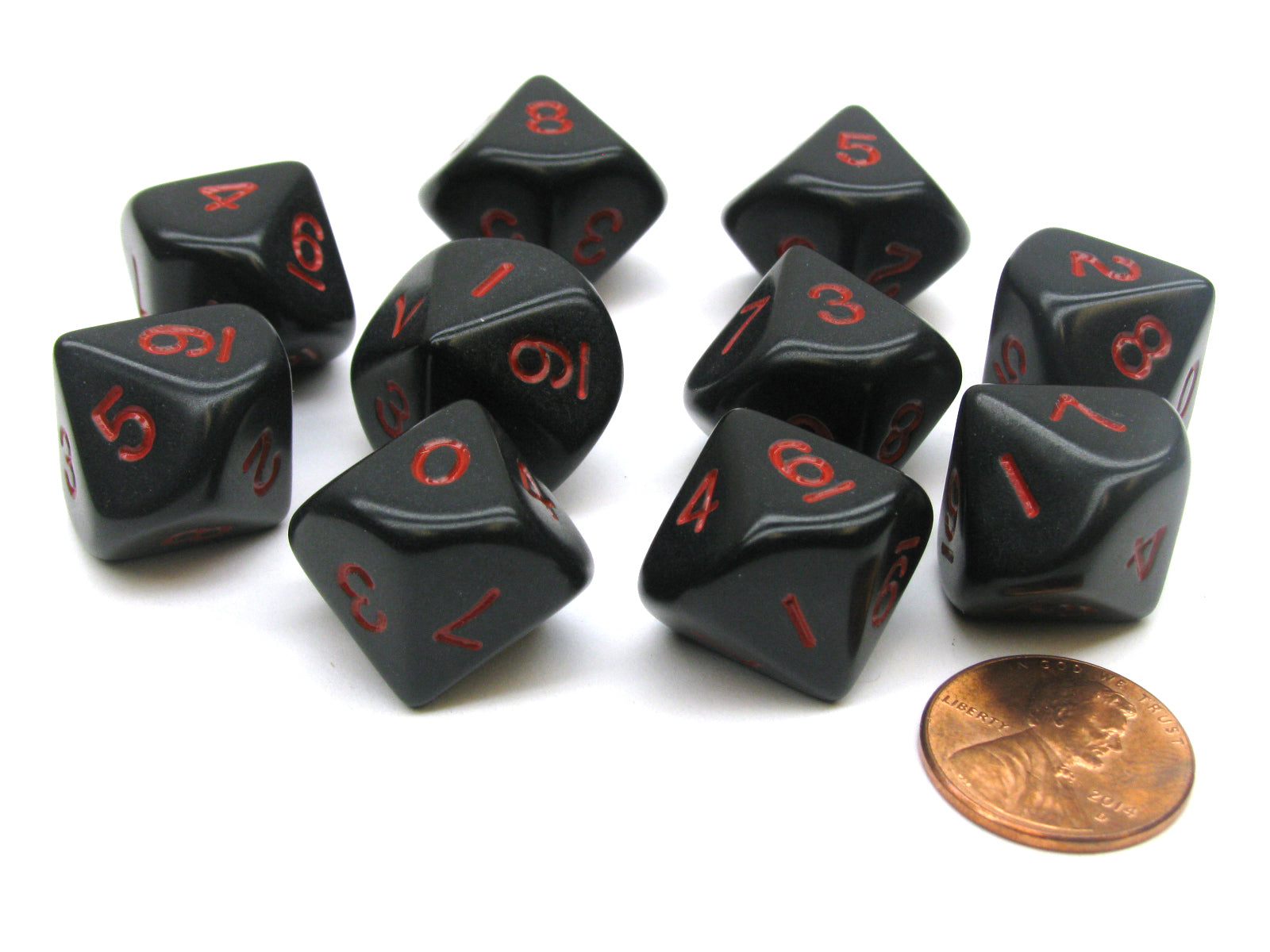 Set of 10 D10 10 Sided 16mm Opaque Dice - Black with Red Numbers