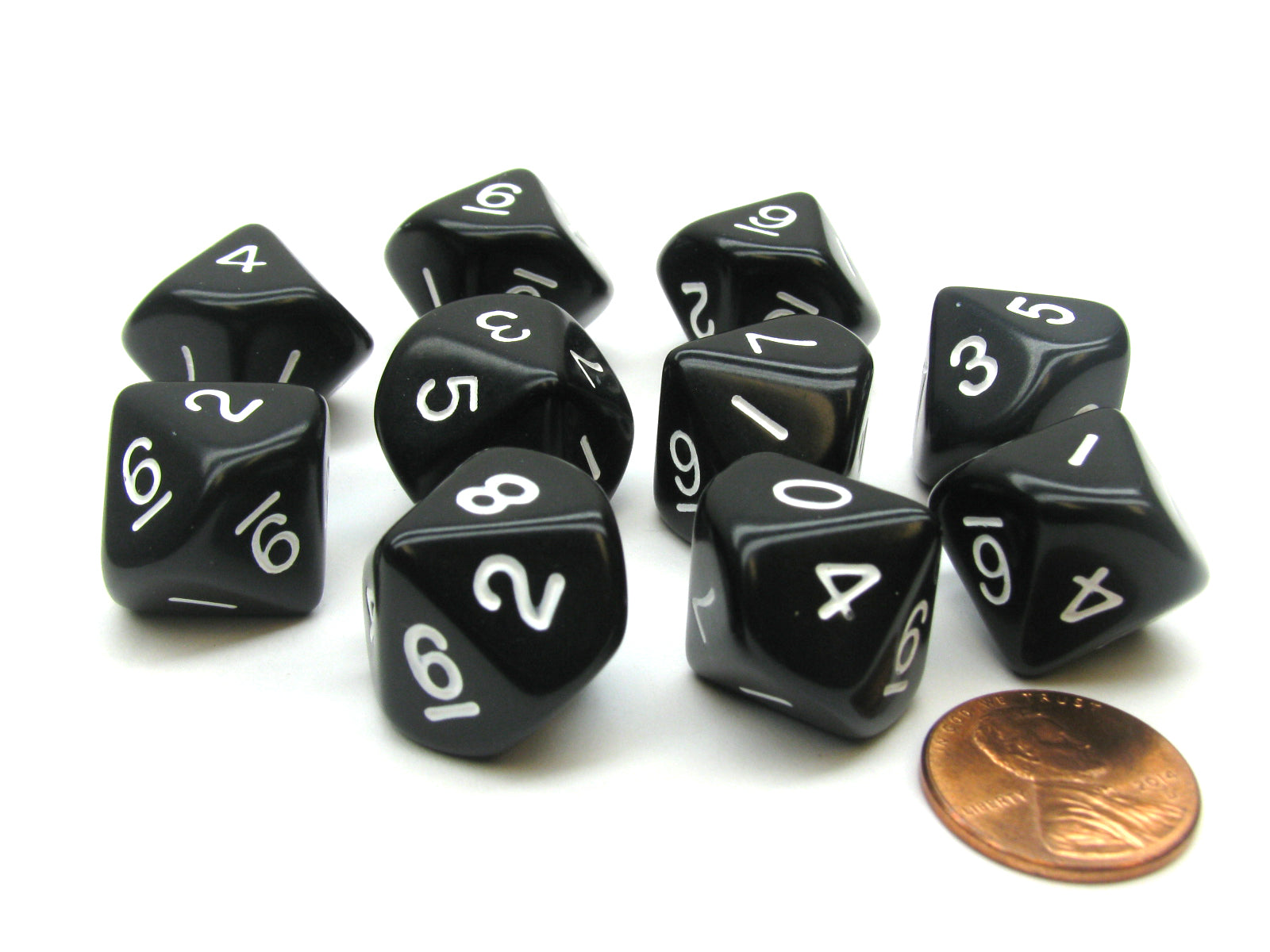 Set of 10 D10 10-Sided 16mm Opaque Dice - Black with White Numbers