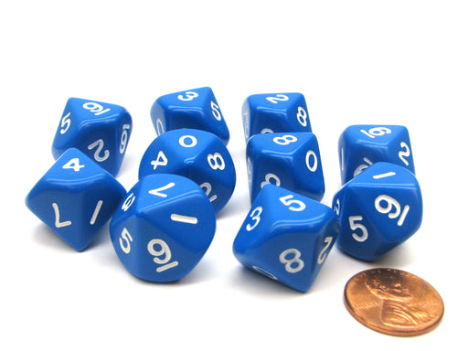 Set of 10 D10 10-Sided 16mm Opaque Dice - Blue with White Numbers