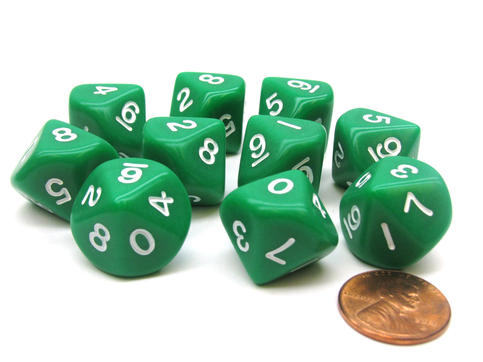 Set of 10 D10 10-Sided 16mm Opaque Dice - Green with White Numbers