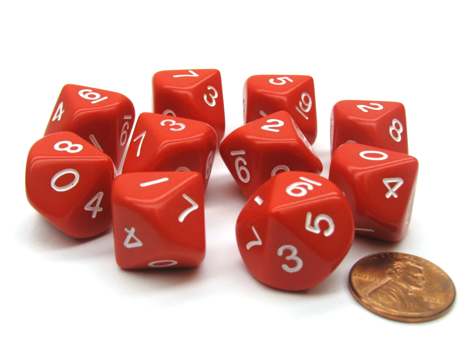 Set of 10 D10 10-Sided 16mm Opaque Dice - Red with White Numbers