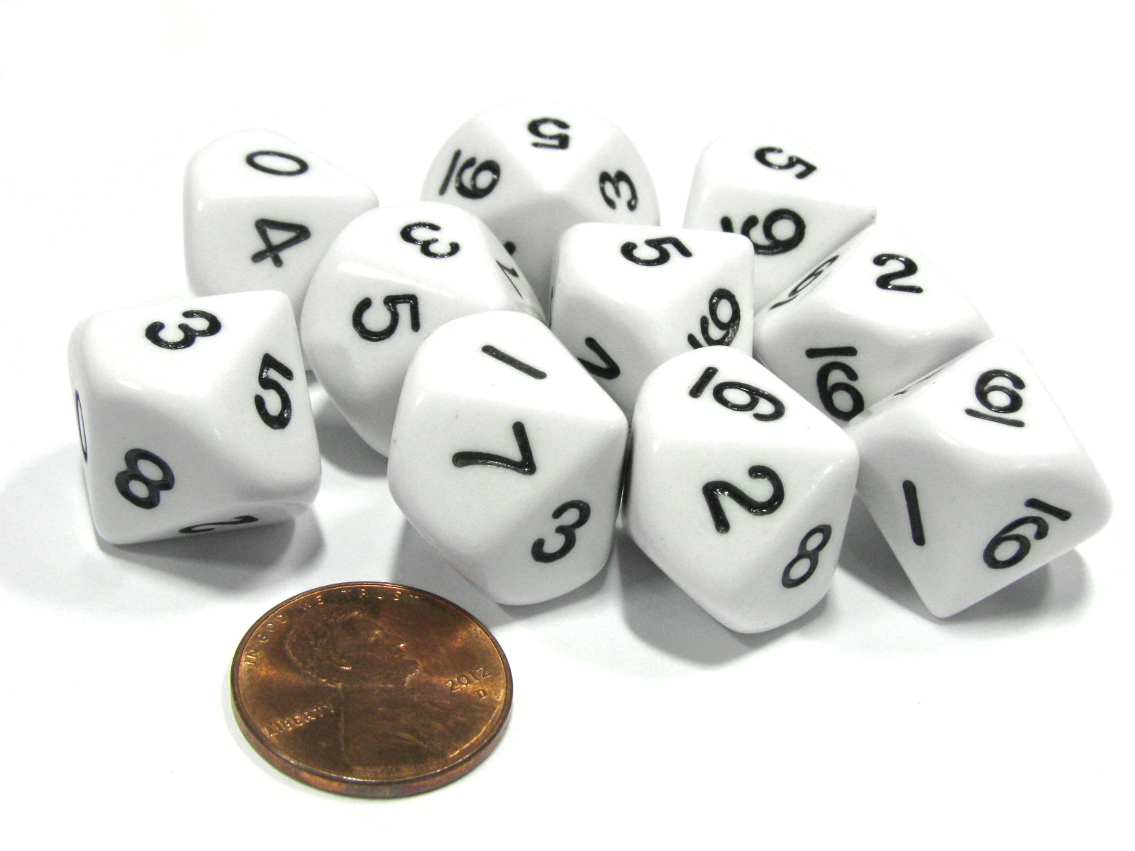 Set of 10 D10 10-Sided 16mm Opaque Dice - White with Black Numbers