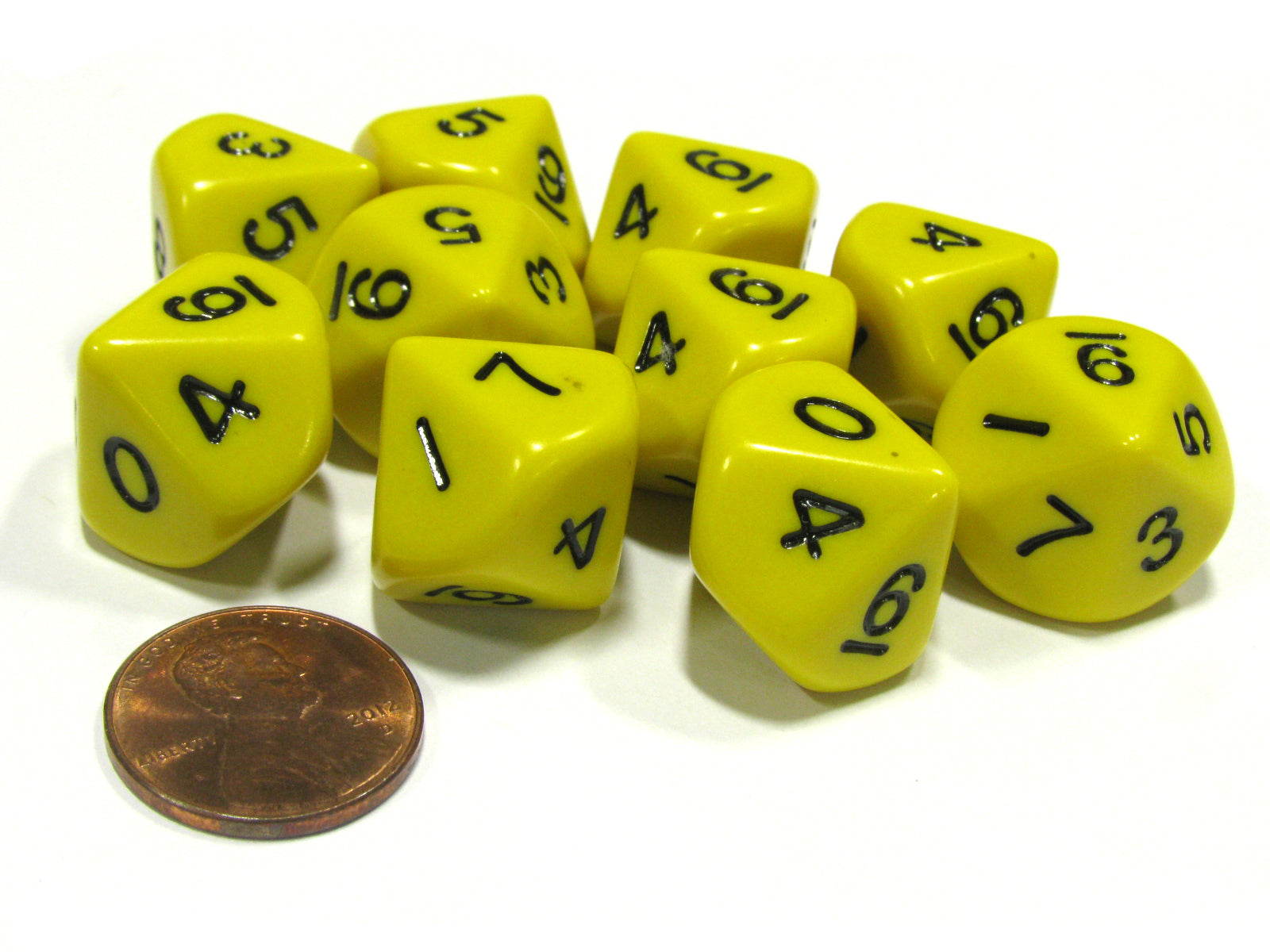 Set of 10 D10 10-Sided 16mm Opaque Dice - Yellow with Black Numbers