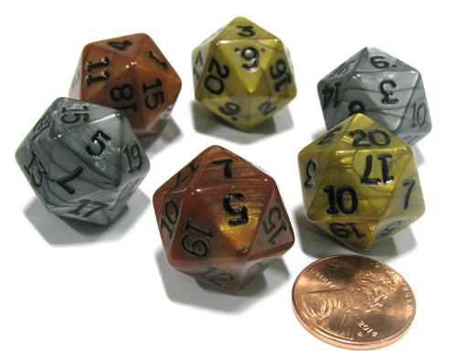 Set of 6 D20 19mm Olympic Pearlized Dice - 2 Each of Gold Silver and Bronze