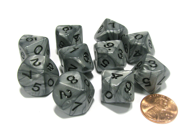 Set of 10 D10 16mm Olympic Pearlized Dice - Silver with Black Numbers