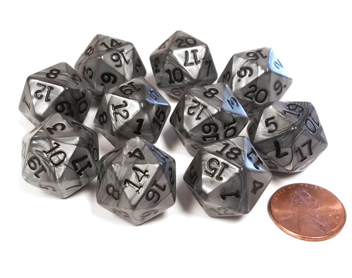 Set of 10 D20 19mm Olympic Pearlized Dice - Silver with Black Numbers