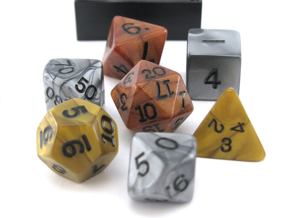 Polyhedral 7-Die Koplow Games Dice Set-Olympic Pearlized Gold Silver and Bronze