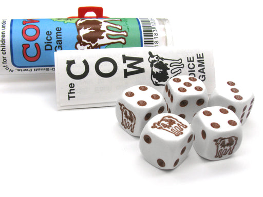 Brown Cow Dice Game 5 Dice Set with Travel Tube and Instructions