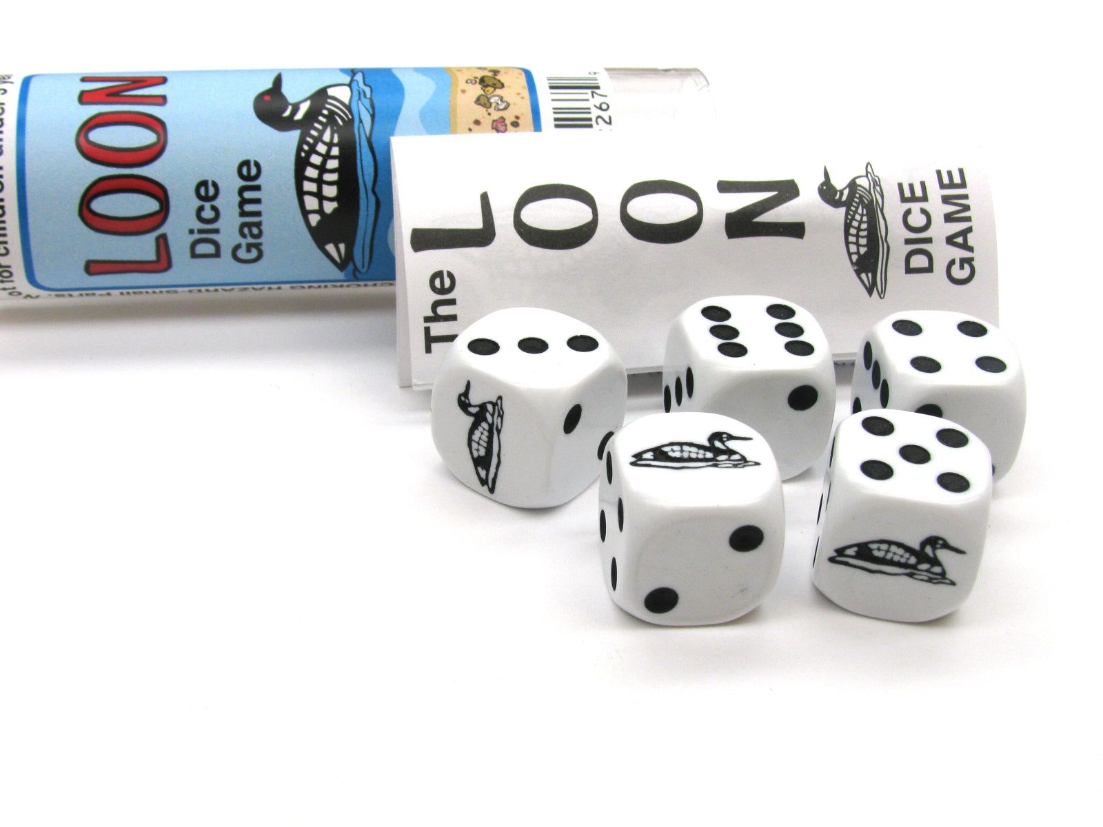 Loon Dice Game 5 Dice Set with Travel Tube and Instructions
