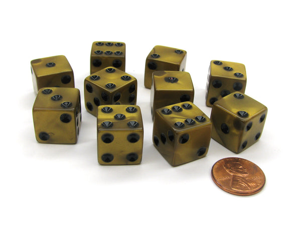 Set of 10 D6 16mm Olympic Pearlized Standard Size Dice - Gold with Black Pips