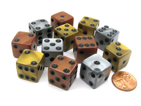 Set of 12 D6 16mm Olympic Pearlized Dice - 4 Each of Gold Silver and Bronze