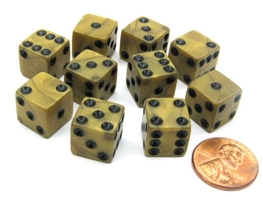 Set of 10 D6 12mm Olympic Pearlized Dice - Gold with Black Pips