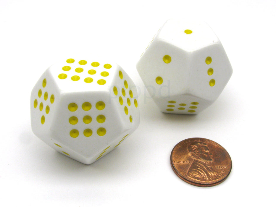 Pack of 2 Large 28mm D12 Spotted 1 - 12 RPG D&D Gaming Dice - White with Yellow