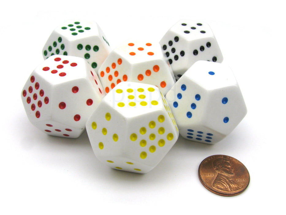 Pack of 6 28mm D12 Spotted Dice - White with: Black Red Green Blue Yellow Orange