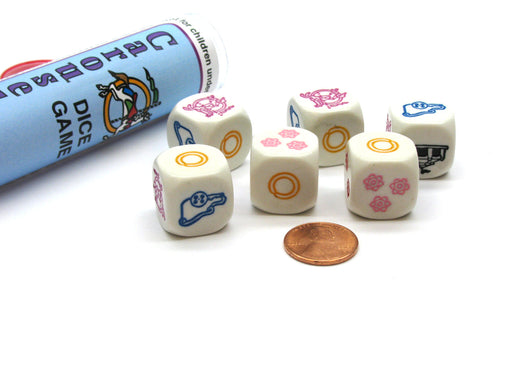 Carousel Dice Game 6 Dice Set with Travel Tube and Instructions